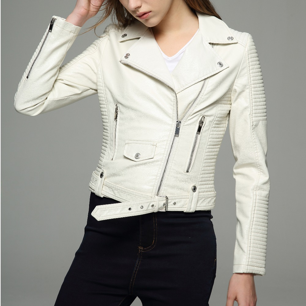 Long Sleeves Womens Jackets 2018 Black Beige White Leather -8479