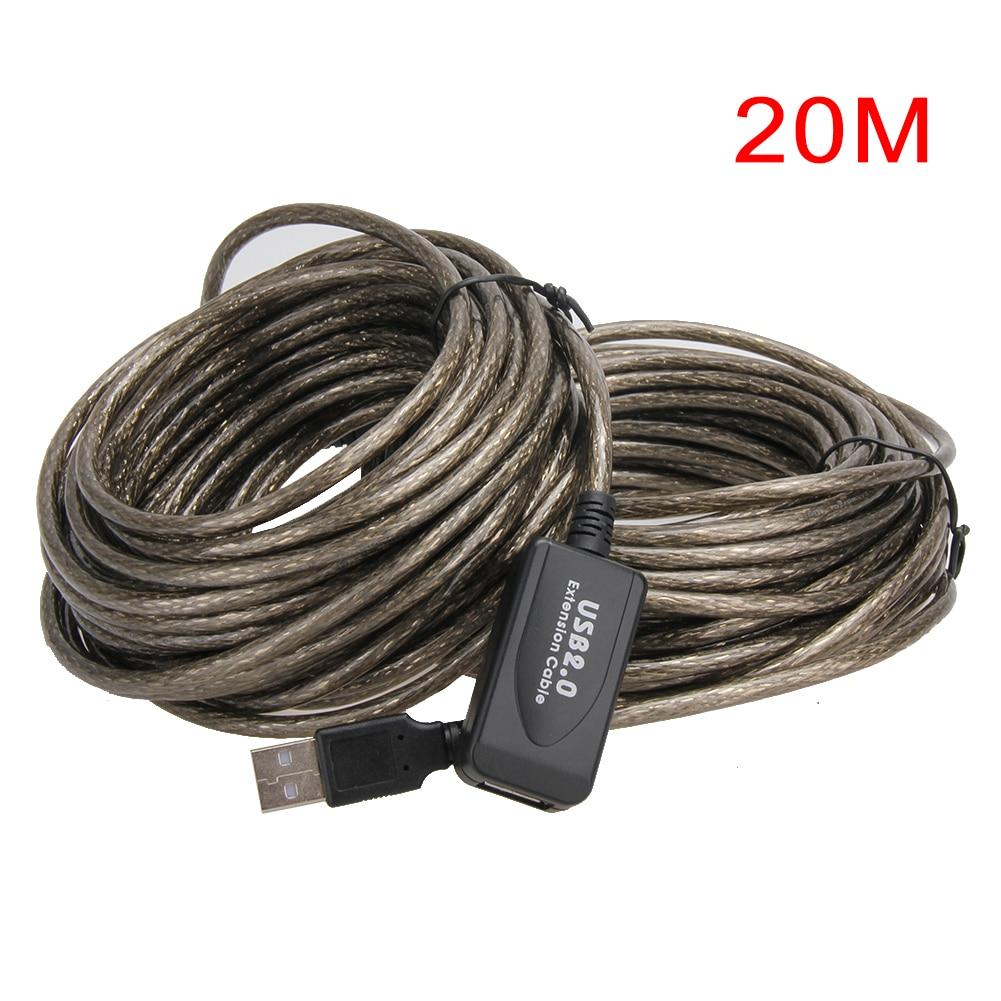Usb 2.0 cabo de extensão 5 m/10 m/15 m/20 m repetidor macho para fêmea m/f embutido ic duplo blindagem super velocidade extensão cabo de cabo