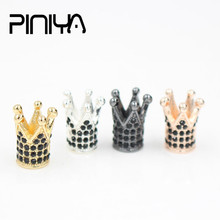 5pcs/lot Black CZ Crown Bead Luxury Micro Pave Cubic Zirconia Crown Beads For Men Bracelet Making DIY Metal Charm Jewelry mixed wholesale micro pave beads diy jewelry making findings copper charm spartan warrior crown skull beads for bracelet