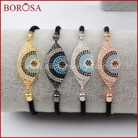 BOROSA New Copper Micro Pave CZ Cubic Zirconia Turkey Evil Eye Boho Connector Rope Adjustable Bracelets
