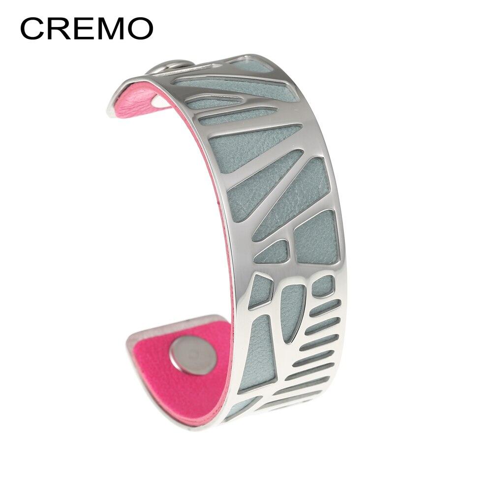 Cremo Plam árbol brazalete pulsera de cuero pulsera de acero inoxidable plata intercambiables Reversible 25mm banda de cuero
