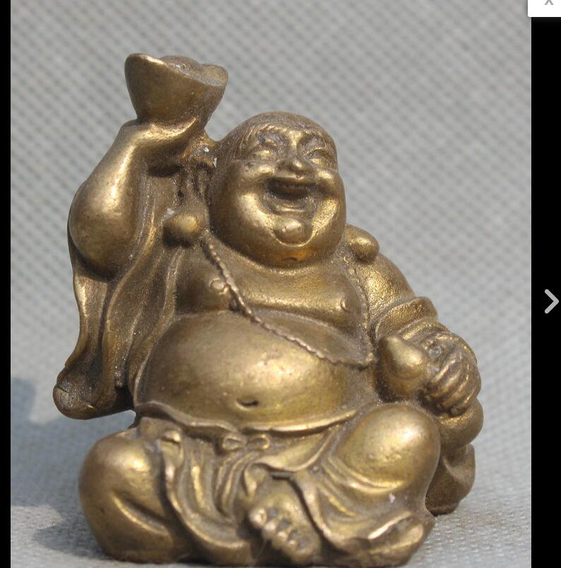 China Brass Yuan bao wealth Happy Laugh Maitreya Buddha Ride Fish Statue