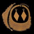 2017 Novos Grandes Conjuntos de Jóias Traje Africano de Alta Qualidade Dubai Banhado A ouro Conjuntos de Jóias Grande Pingente Para As Mulheres Do Partido Do Vintage estilo