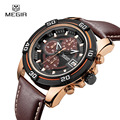 Top Luxury Brand MEGIR Men Sports Watches Men's Quartz Hours Chronograph 6 Hands Clock Man Leather Strap Military Wrist Watch