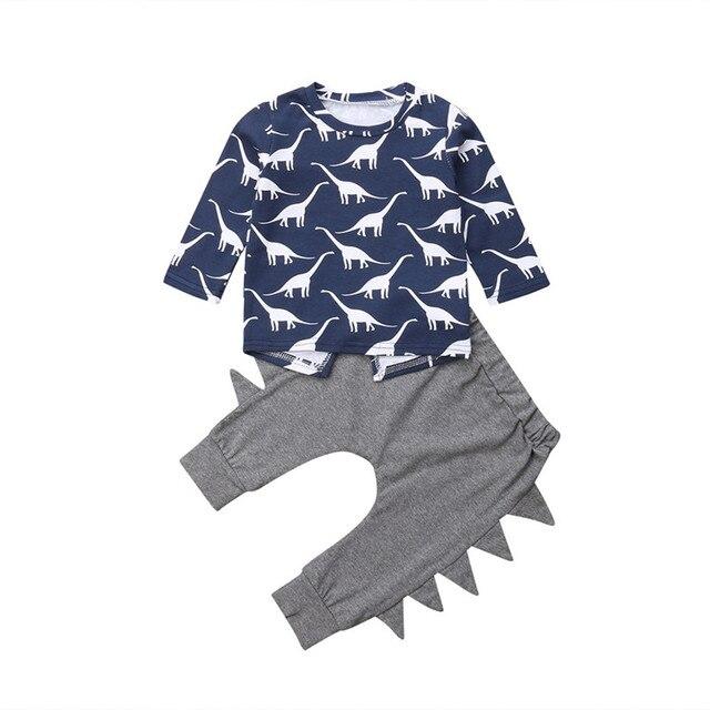935743d15 Cartoon Infant Newborn Baby Boy Clothing Set Long Sleeve Dinosaur T ...