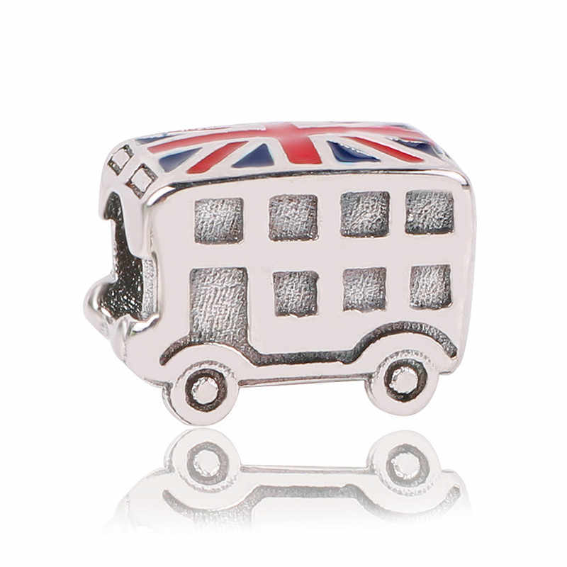 dodocharms 925 Sterling Silver Bead London Bus Eiffel Tower Travel Pendant Charms Fit Pandora Bracelets Bangles DIY Jewelry