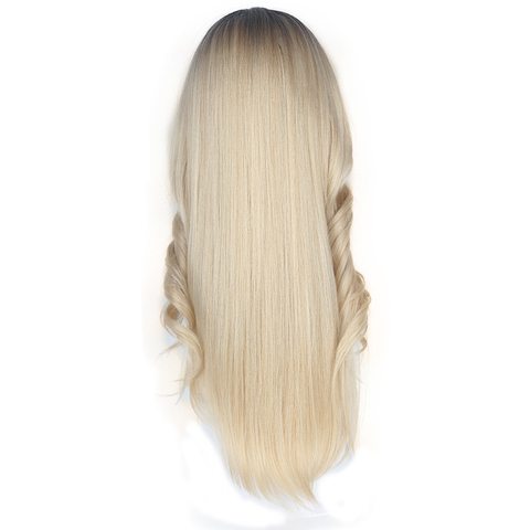 Ombre Pink Blonde Color Lace Part Synthetic Hair Wigs With Bangs Middle/Side Part X-TRESS Long Straight Lace Wig For Black Women Karachi