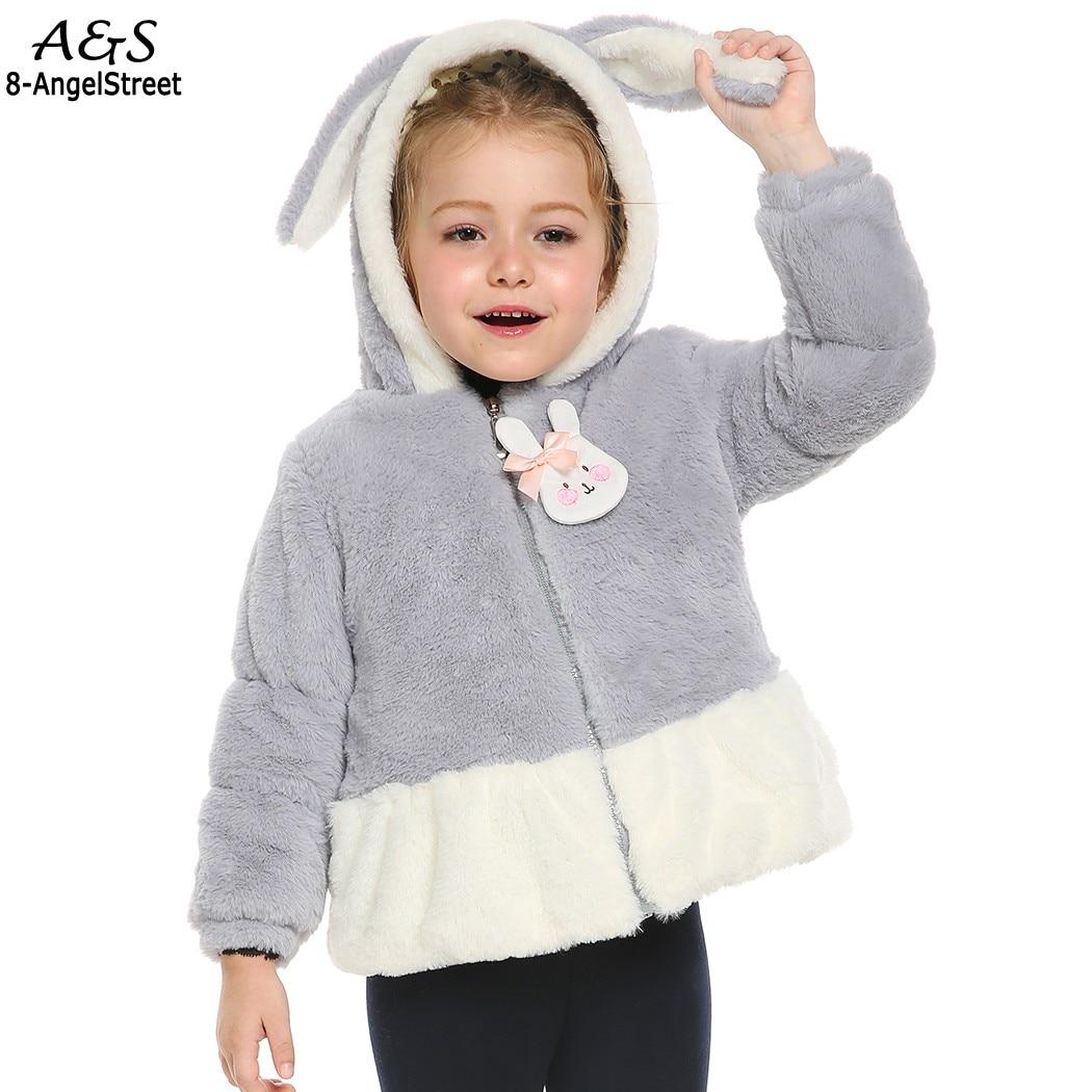 ФОТО Kids Girls Cotton Winter Warm Coat Cute Hooded Bunny Faux Fur Winter Warm Coat New