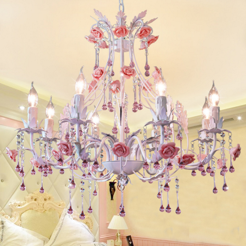 Pastoral living room dining room crystal lamp Iron Pendant Lights warm romantic flower bedroom lamp LED art lamps Pendant Lights 3 heads pendant lamps dining room glass pendant light living room lights bedroom pendant lamps iron lamp fg552