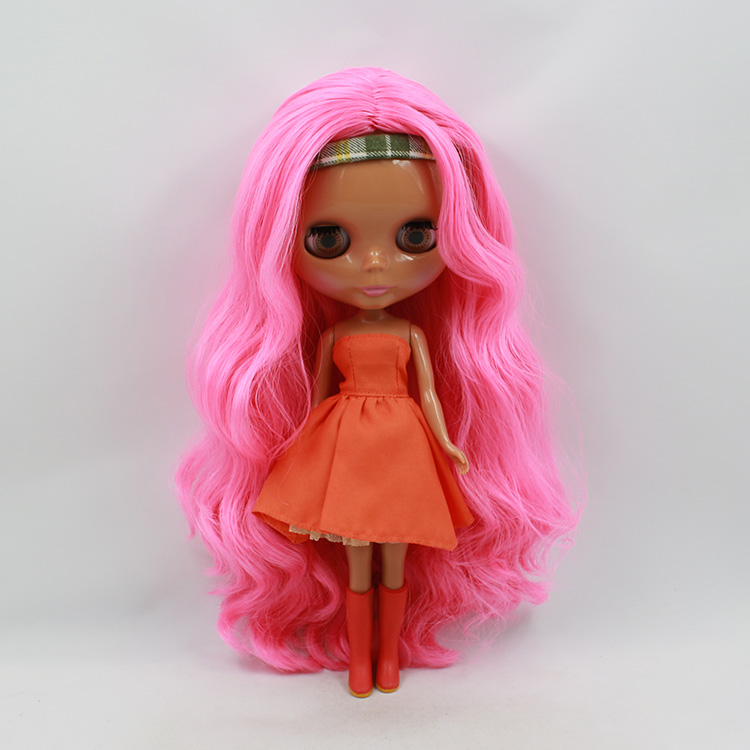Nude Blyth doll tanned fashion doll pink long hair cute bjd dolls for girls nude princess blyth doll bjd 1 6 big eyes b female long brown hair with bangs pink cheek and lip diy bjd dolls for sale