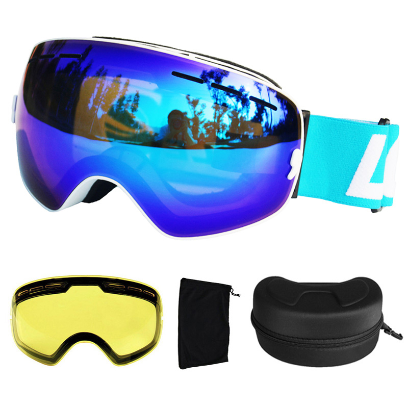 LOCLE lunettes de Ski UV400 lunettes de Ski Double lentille Anti-buée Ski Snowboard lunettes de Ski lunettes avec une boîte et une lentille supplémentaire