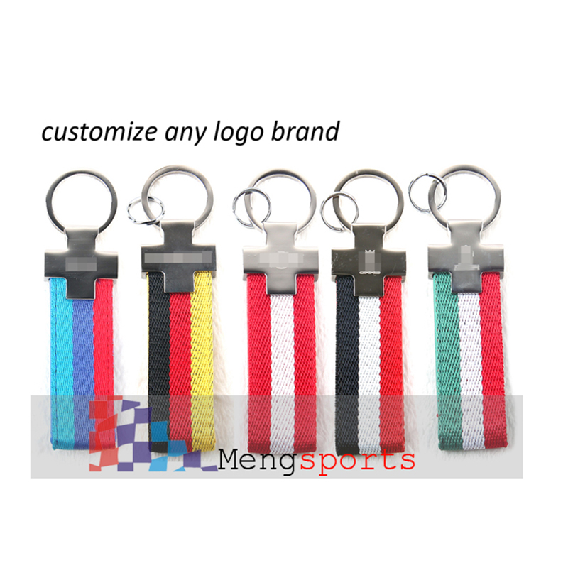 100pcs Metal Canvas Leather Keyring Blue Red Italy Germany Car Styling Key Chain Custom Logo