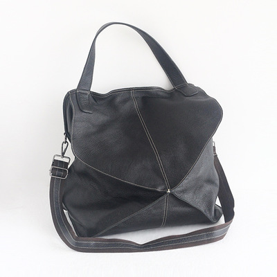 2018 novelty women big genuine leather shoulder bag female black brown dark blue soft tote bag large first layer of cowhide bag dark blue zippered faux leather handle conference file contract bag container