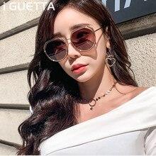 iGUETTA Retro Round Sunglasses Women Brand Designer Alloy Clear Sun Glasses 2019 UV400 Hgh Quality IYJB574
