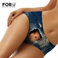 FORUDESIGNS New Fashion Penties Women Funny 3D Dog Cat Printing Womens Underwear Sexy Briefs Women Seamless Panties Bragas Mujer