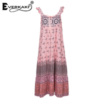 Everkaki Women Lion Heart Ribbon Bowknot Backless Gypsy Style Pink Dress Summer Spaghetti Strap Pleated Hem