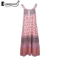 Everkaki Women Lion Heart Ribbon Bowknot Backless Gypsy Style Pink Dress Summer Spaghetti Strap Pleated Hem