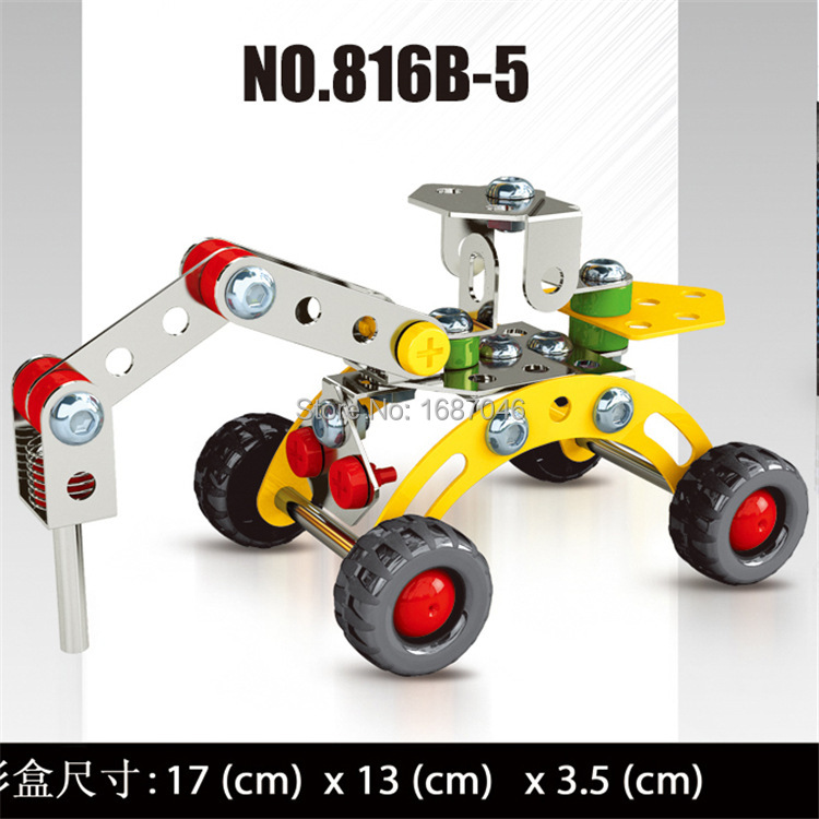 6 style iron 3d diy assemblage metal model trucks building kits vehicle cars modelismo kids children
