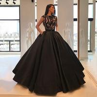 Long Evening Dress 2018 Puffy Ball Gown abendkleider Arabic Embroidery Black Womens Dubai Formal Evening Gowns