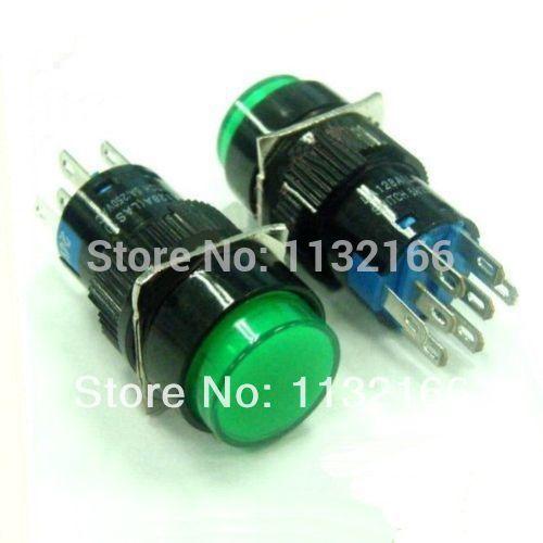 10pcs 6V/12V/24V/110V/220V For Choose Pilot Light Lamp 16mm Green 2NO 2NC Terminal 8 Pin DPDT Maintained Push Button Switch