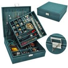 Caixa de joias de veludo com 2 camadas, caixa para presente e joias, design clássico, nova, 2020
