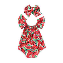 Newborn Infant Baby Girl Floral Print Off Shoulder Short Sleeve Romper Jumpsuit Outfit Playsuit Cotton Girls Clothes(China)
