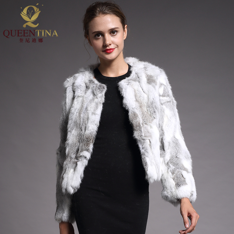 2018 New Women Real Rabbit Fur Coat Long Sleeve Natural Rabbit Fur Coat O-Neck Fashion Slim Rabbit Fur Coat Genuine Fur Jacket