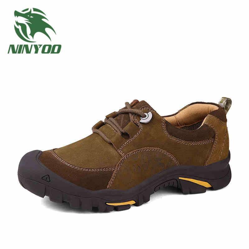 Высокое качество Для мужчин Уличная обувь из натуральной кожи на плоской подошве на шнуровке износостойкий/Водонепроницаемый плюс Размеры...