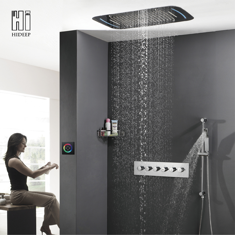 HIDEEP Wall Mounted Roof Embedded Rainfall Shower Head System Faucet Solid Brass Auto-Thermostat Control LED Bathroom Shower Set taie thermostat fy800 temperature control table fy800 201000