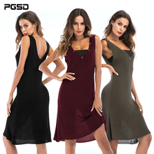 PGSD New Summer Simple Fashion Women Clothes Pure color sleeveless Deep V-collar splice chest-wiping Knitted short dress female