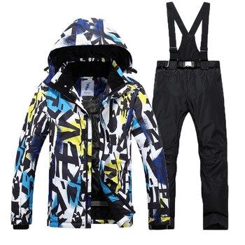 High Quality Waterproof Windproof  Ski Jacket + Ski Pant for  Men Outdoor Breathable Clothing ski jacket +pant  Ski Suit