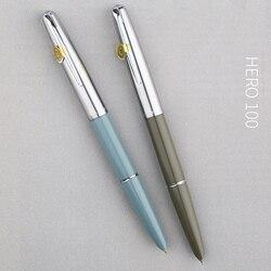 Juego de pluma estilográfica Hero 100 de plumín dorado de 14K, pluma estilográfica de Metal de calidad auténtica todo el acero, pluma de tinta excelente de Semi-Acero, juego de regalo de escritura
