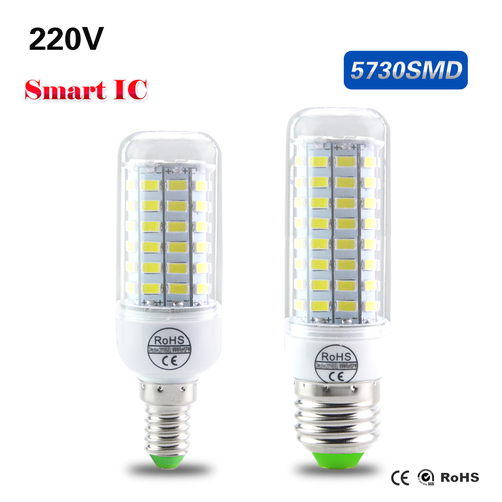 Foxanon LED lamp No Flicker 5730 SMD 220V 230V E27 E14 24 -89LEDs Corn Bulb