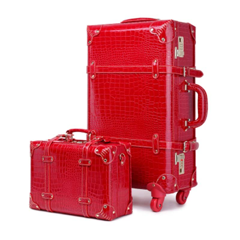 red Chariot Vintage Set Roues Rouge Pouce À Mariage Letrend Set red red 20 Passe Main Roulettes Mariée Ensemble Valise Mot A Bagage Tronc Bagages Spinner Voyage Red De wfPpPqFax