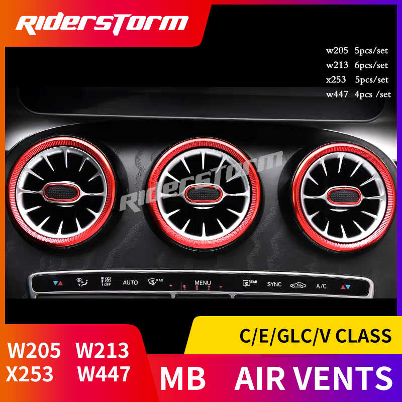 For w205 w213 X253 C class C200 C180 E class E43 E450 GLC class w447 v  class turbine air vent silver / red air condition vents