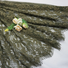 Fashion Army green 1.5m*1.5m leaves embroidery lace fabric High Quality openwork Eyelashes African tulle lace mesh net fabrics