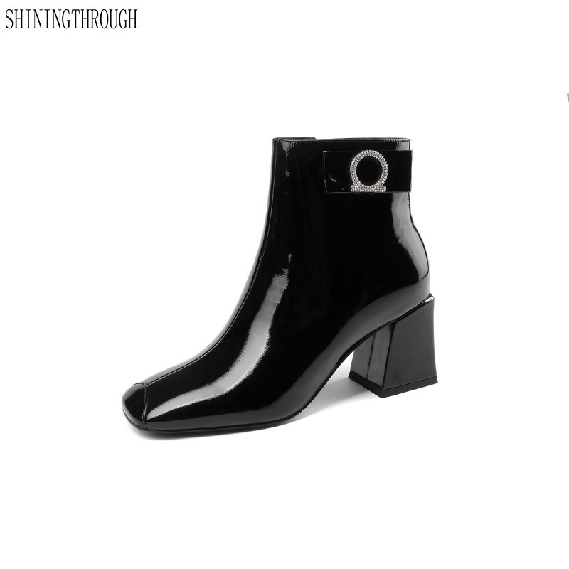 New Brand Women Genuine Leather Ankle Boots Fashion crystal Decoration Autumn Winter Party Prom Shoes Woman