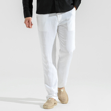 Spring Summer Mens Long Linen Pants New Male Thin Comfy Loose Thousers Solid Large Size Popular Casual