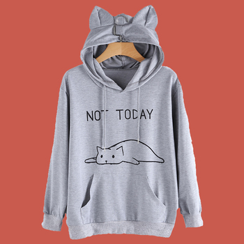 Sweatshirt Cat Kawaii Not Today Hoodie Cat Ears Poleron Mujer 2019 5xl Plus Size Kangaroo Pocket Hoodie Women Wine Red Hoodie plus size cat print hoodie with ears