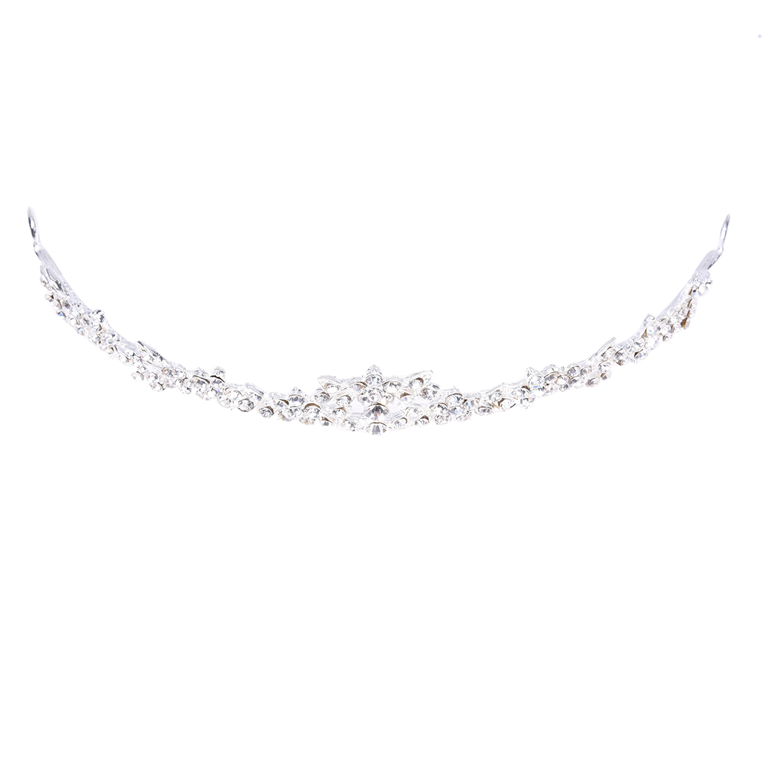 Rhinestone Crystal Flower Bridal Crown Headband Veil Tiara Wedding Prom New