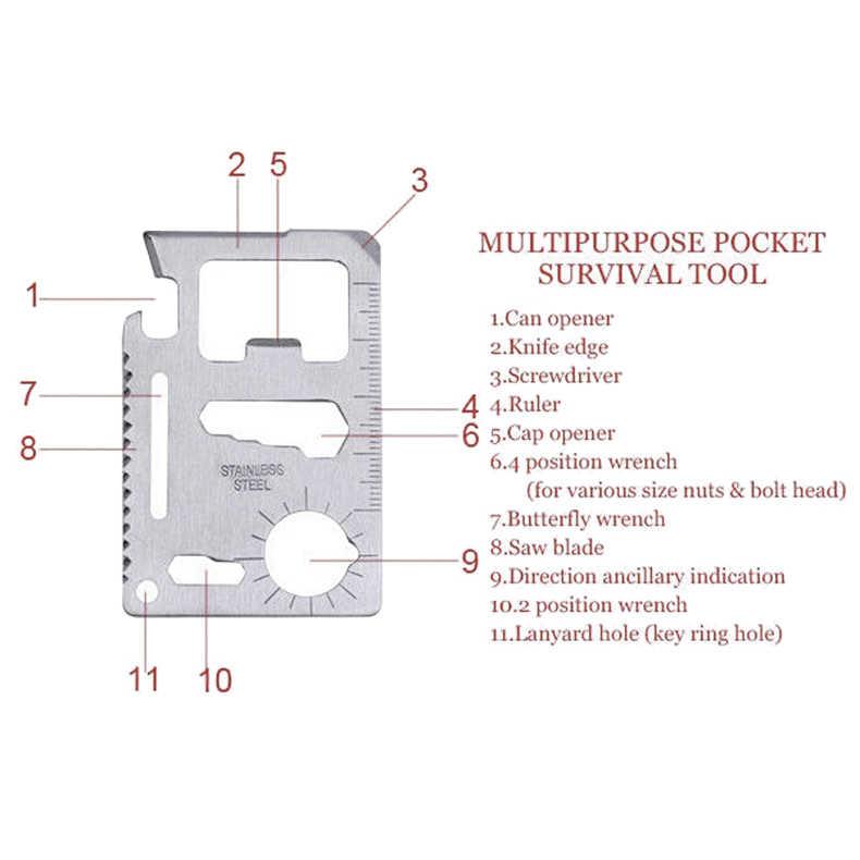 11 في 1 حجم بطاقة الائتمان المحفظة القاطع شفرة الفولاذ المقاوم للصدأ بقاء أداة متعددة الاستعمالات للتخييم التنزه بقاء SKD88