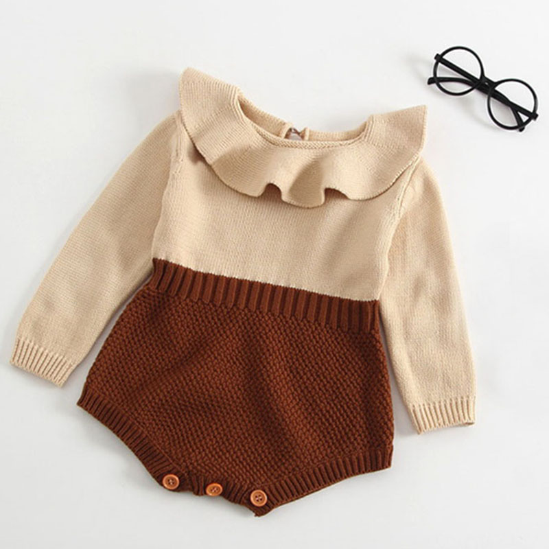 New 2019 Spring Autumn Baby Knitted Romper Set Long Sleeves Doll Collar Baby Casual Clothes Baby Boys Girls Knitted Clothing