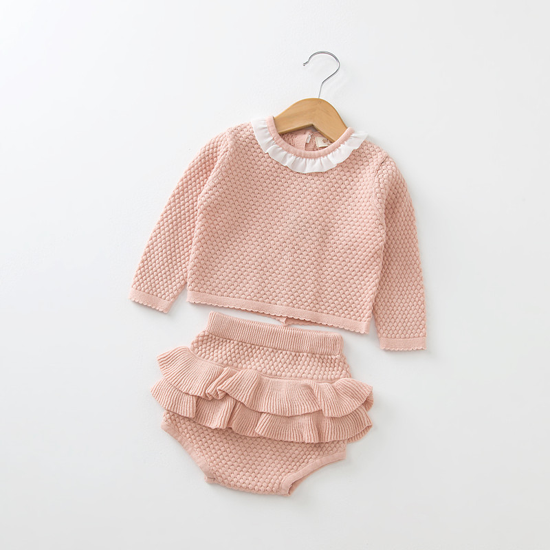 78d2a379f21 Children Clothing sets Baby girls Ruffles Lace plaid Sweaters+Knitted  Shorts Sets Baby Outfits for 0~24 Months Tags