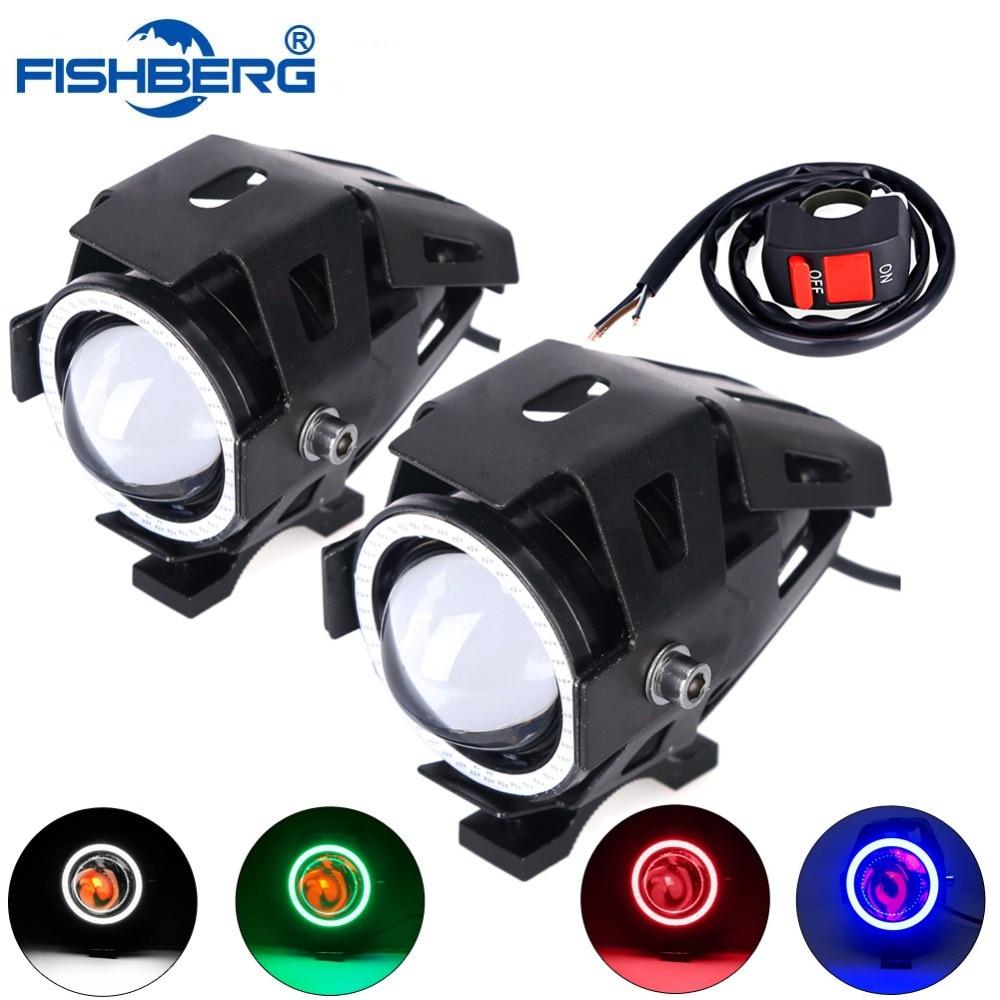 2pcs LED Motorcycle Headlight LED Chip U7 125W With 1pcs Switch 3000LM Devil Angel Eye Fog