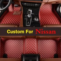 Car Atmosphere Red Purple Fit Lady Car Floor Leather Mats Pads For Nissan Patrol Cima Qashqai