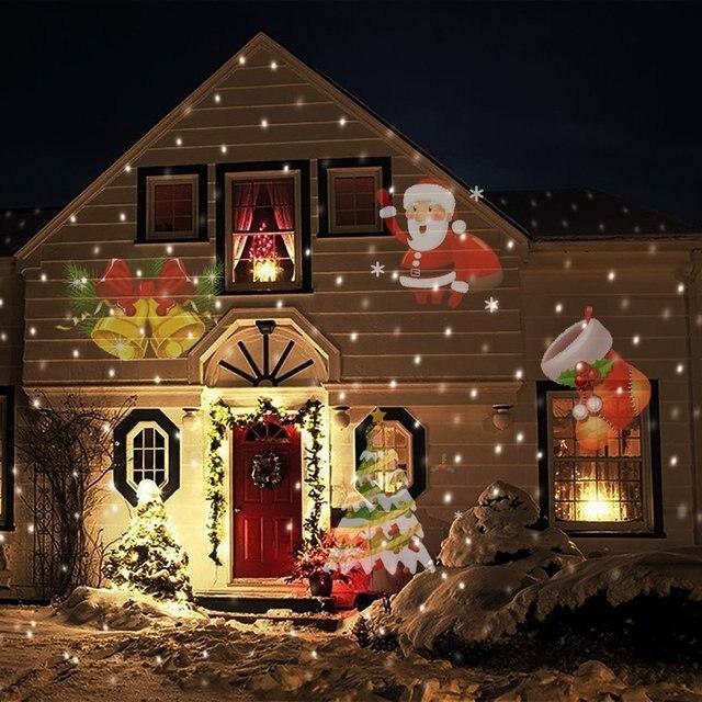 12 דפוסי חג המולד לייזר מקרן Snowflake LED שלב DJ דיסקו אור מסיבת אורות קישוטים לבית מקורה חיצוני גן