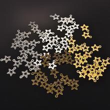 50 шт. цинковый сплав мини пятиконечные звезды античные серебряные бронзовые Полые Подвески золото для DIY для изготовления украшений вручную ремесло