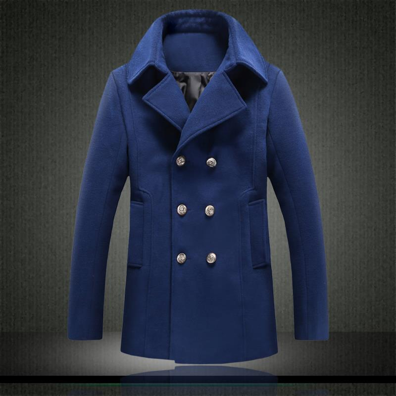 Blue Wool Pea Coat Mens - Tradingbasis
