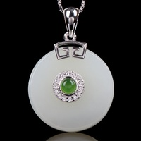 925 Silver Necklace Jewelry Hetian Jade Pendant For Women