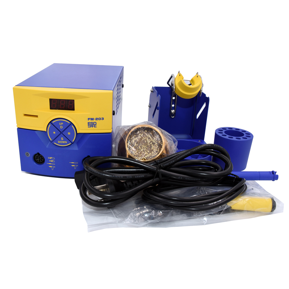FM203 ESD-Safe Dual Port Smd Soldering Station Machine with FM2027 Soldering Iron Handle and T15 Series Soldering Tip hakko fx 888d safe soldering station soldering iron esd safe 220v